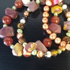 Jewelry - Stretch bracelets 3pc Mookaite beads and Pearls